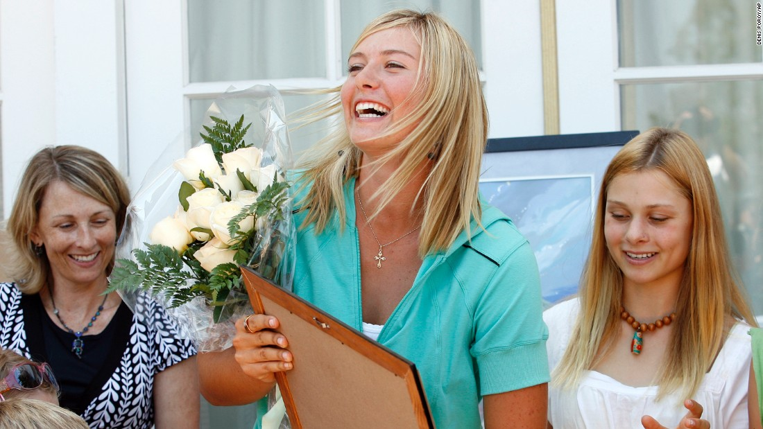 Sharapova is given a painting from the Children of Chernobyl Foundation in July 2007. That year, she became a U.N. global ambassador focused on the Chernobyl Recovery and Development Program.