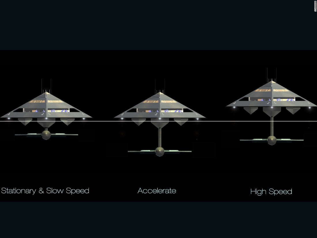"It is made possible by the HYSWAS (hydrofoil small waterplane area ship) hull, which enables the vessel to be lifted out of the water at speed on side-mounted adjustable hydrofoils. When traveling at a lower speed, meanwhile, the Tetrahedron sits gently onto three underbelly hulls.<br /><br />""The result is a futuristic, exciting and totally unconventional flying superyacht which seems to have captured the imagination,"" Schwinge says."