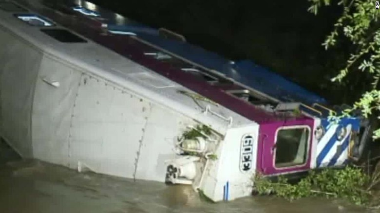 Train car derails, falls into creek