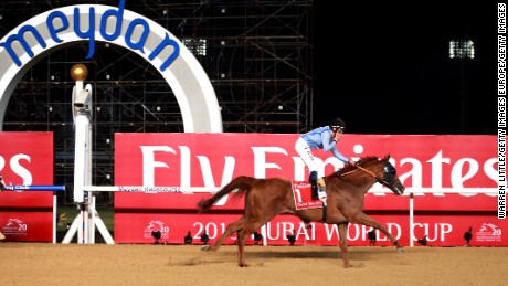 Prince Bishop, ridden by William Buick, won the Dubai World Cup at Meydan in 2015.