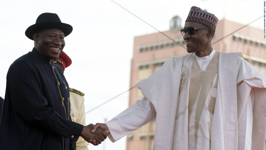 Nigerian President Mohammadu Buhari (R) has committed to continuing with the Nigeria Industrial Revolution Plan (NIRP), started by former President Goodluck Jonathan (L). The Plan aims to scale up the nation's industrial production.