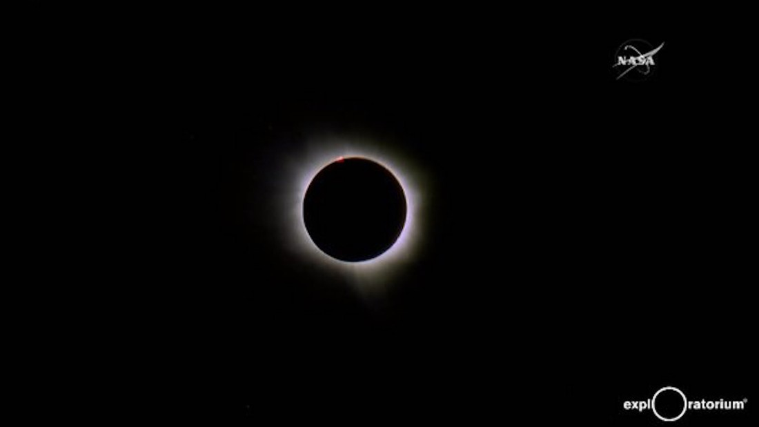 An image released by NASA shows a total solar eclipse seen from Indonesia on Wednesday, March 9, 2016.