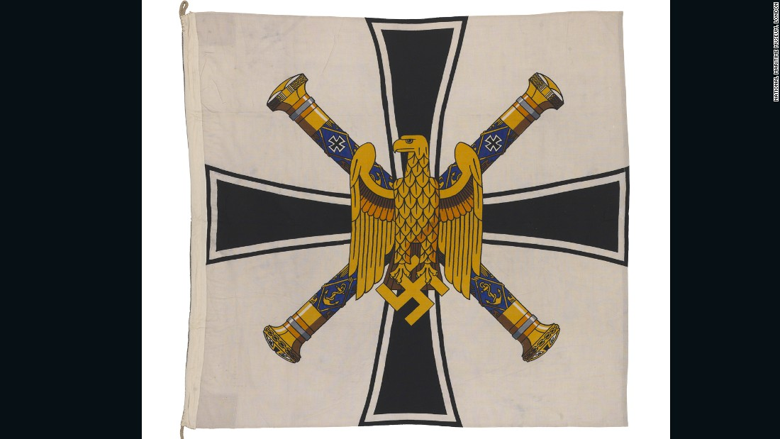 This nautical flag from Nazi-era Germany features two crossed admiral's batons, and an eagle holding the swastika.
