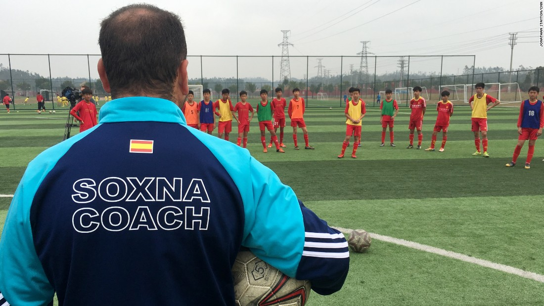 "Sergio Zarco Diaz, who has been coaching in China for four years, runs his sessions at the school alongside a translator. ""What we notice is the children are at a high technical level, but the greatest difference is tactically,"" the Spaniard explains."