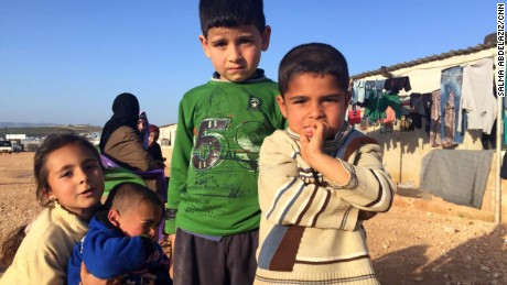 Six and a half million Syrians are displaced within the country after five years of war. These children live in a camp for displaced people near the border with Turkey.