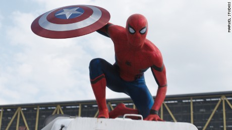 A still photography of the Spider-man character from the upcoming Captain America - Civil War movie.