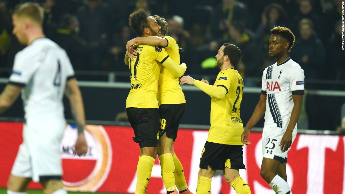 It was Aubameyang who opened the scoring with a fine header as Dortmund piled the pressure on its opponents.