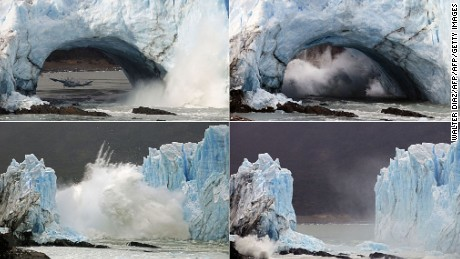 TOPSHOT - Sequence of images of the collapse of huge masses of ice from the wall of the Perito Moreno Glacier located at Los Glaciares National Park, southwest Santa Cruz Province, Argentina, on March 10, 2016. With 250 km2 ice formation, and 30 km in length, the Perito Moreno is one of 48 glaciers fed by the Southern Patagonian Ice Field located in the Andes mountain range. The most recent rupture was in March 2012 and the one before that was in 2008.   AFP PHOTO / WALTER DIAZ / AFP / Walter Diaz        (Photo credit should read WALTER DIAZ/AFP/Getty Images)