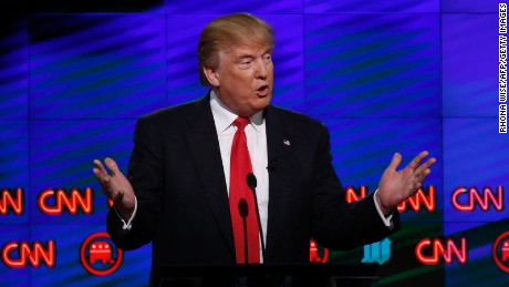Republican Presidential candidate Donald Trump speaks during the CNN Debate in Miami on March 10, 2016.