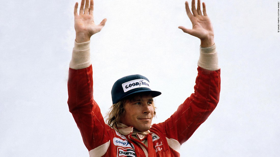 Hunt salutes his home fans at Silverstone after winning the 1976 British Grand Prix. His victory was short-lived though, as other teams, including Ferrari -- home to his arch rival Niki Lauda -- complained he had been allowed to use a spare car after the race was restarted. Hunt was disqualified, handing victory to runner-up Lauda.