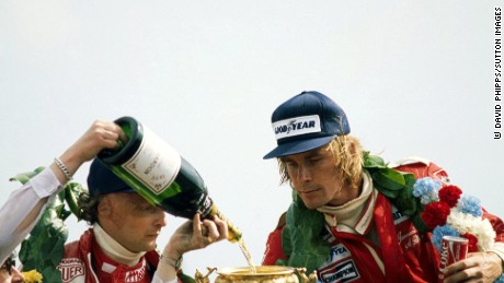 Hunt and Lauda went head to head in the 1976 title race.