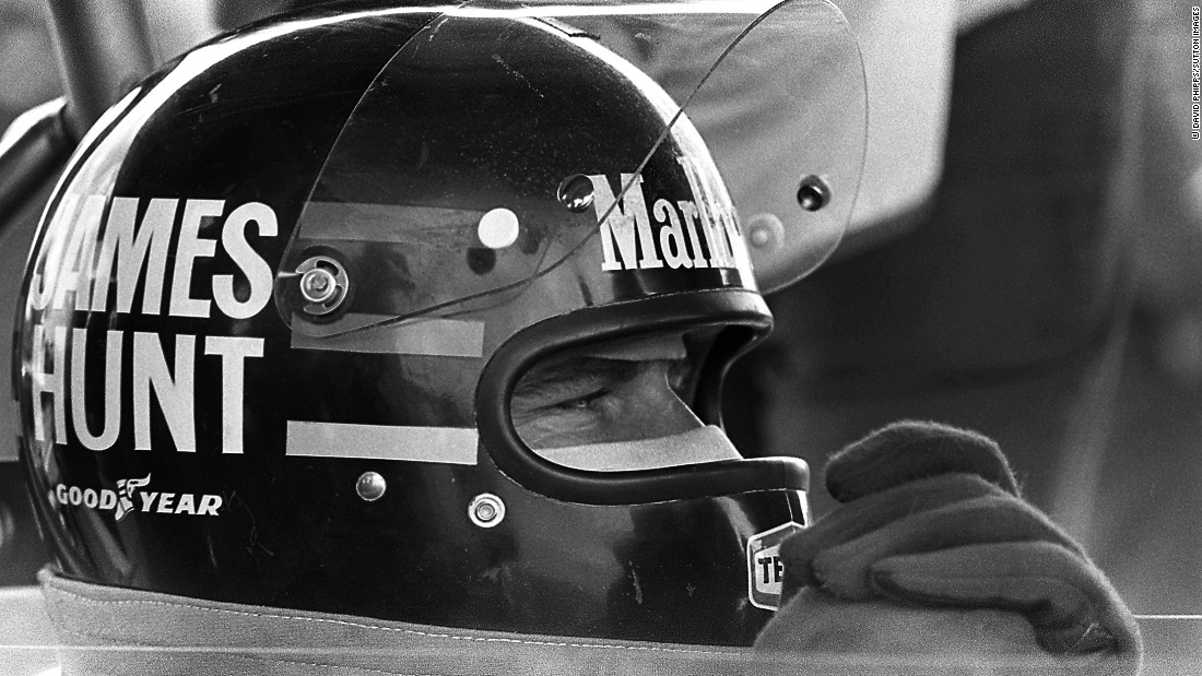 Hunt peers through the visor of his famous helmet at the 1976 Swedish Grand Prix in Anderstorp.