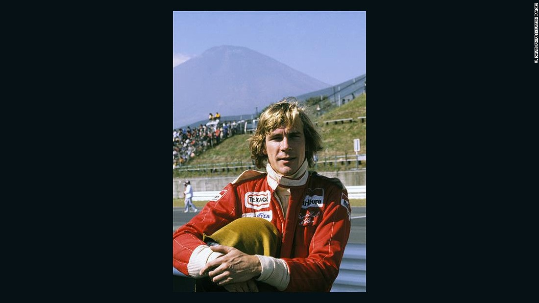 Hunt poses at Japan's Fuji Speedway.