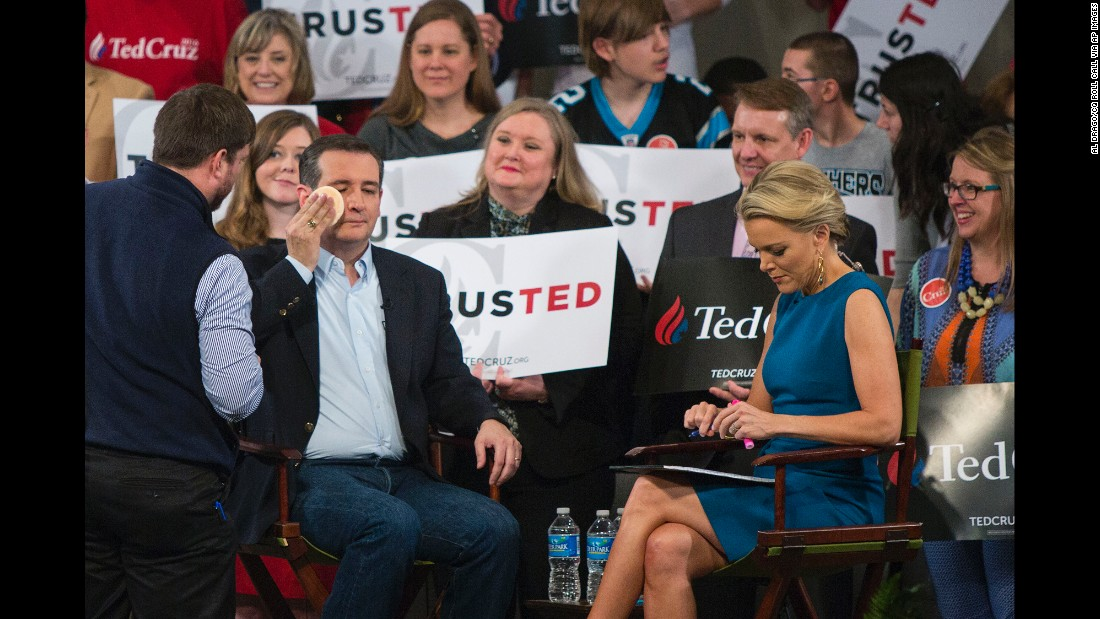 Republican presidential candidate Sen. Ted Cruz has makeup applied during a break at a town hall-style interview with Fox News host Megyn Kelly at Calvary Baptist Church in Raleigh, North Carolina,  on Tuesday, March 8.