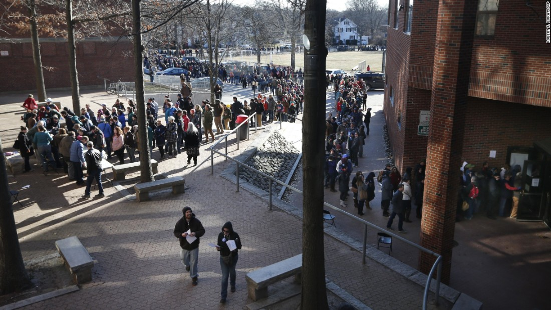 "Voters, some of whom waited more than five hours, stand in a line that stretched well over one-half mile to get into a Democratic caucus location at Deering High School, on Sunday, March 6, in Portland, Maine. <a href=""http://www.cnn.com/2016/03/06/politics/puerto-rico-maine-results/index.html"" target=""_blank"">Several thousand voters</a> showed up to choose between  Hillary Clinton and Bernie Sanders."
