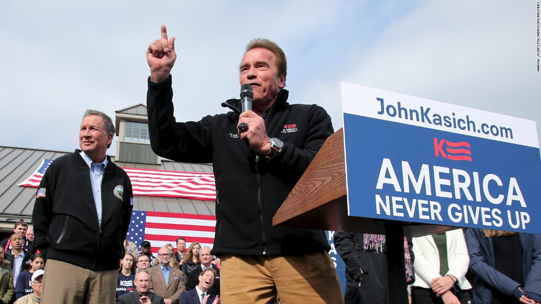 Former California governor and professional body builder Arnold Schwarzenegger speaks in support of Governor Kasich at a rally in Columbus, Ohio on March 6, 2016.
