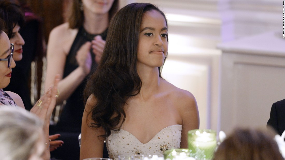 Malia attends a state dinner at the White House in March 2016. The dinner was in honor of Canadian Prime Minister Justin Trudeau and first lady Sophie Gregoire-Trudeau.