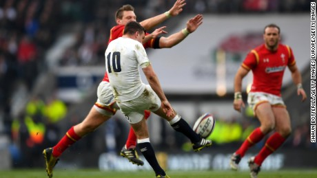 Dan Biggar of Wales charged down George Ford's kick to score under the posts.