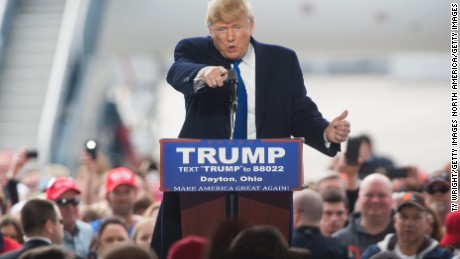 VANDALIA, OH - MARCH 12: Republican Presidential candidate Donald Trump speaks to attendants at a Campaign Rally on March 12, 2016 in Vandailia, Ohio. Today was the first rally  after violence broke out in a Trump Rally in Chicago yesterday which canceled the rally. (Photo by Ty Wright/Getty Images)