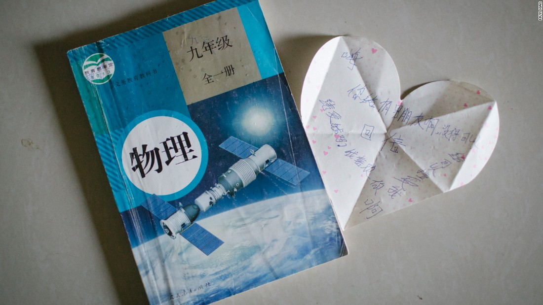 "Many of the young couples meet at school. This love letter kept inside a physics textbook reads: ""Hi, do you have a boyfriend? Can you accept me? I like you, please accept me. Reply."""