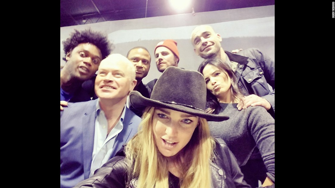 "Actress Caity Lotz <a href=""https://twitter.com/caitylotz/status/709113229444665345"" target=""_blank"">snaps a selfie</a> with her ""Arrow"" co-stars on Sunday, March 13. Behind Lotz, from left, are Echo Kellum, Neal McDonough, David Ramsey, Stephen Amell, Katrina Law and Paul Blackthorne."