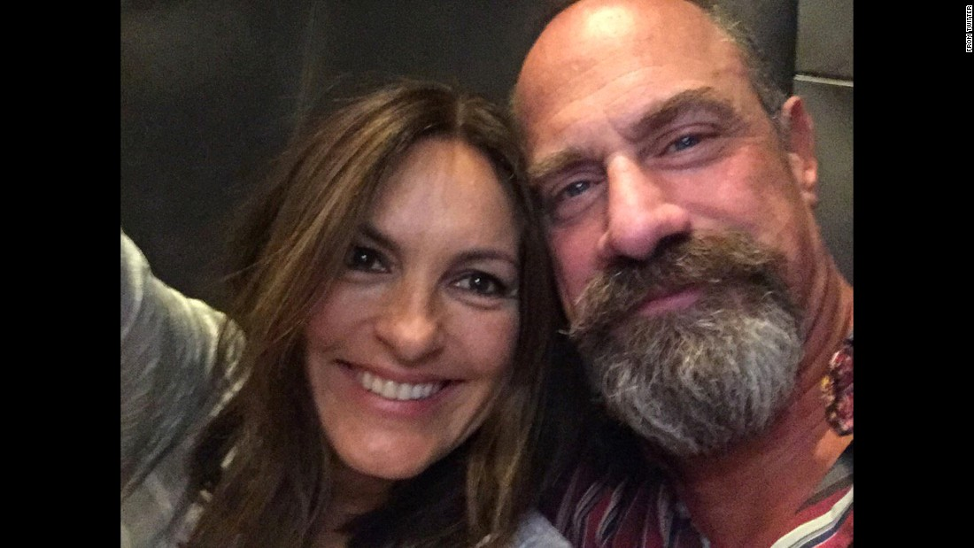 "Actor Christopher Meloni reunites with his ""Law & Order: SVU"" co-star Mariska Hargitay on Friday, March 11. <a href=""https://twitter.com/Chris_Meloni/status/708284146683142145"" target=""_blank"">He tweeted the selfie</a> with the hashtag ""#hanginWithAFriend."""