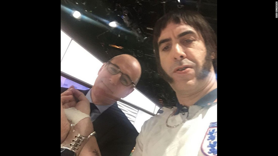 """Not the first time Matt Lauer has been handcuffed to a strange man,"" <a href=""https://www.instagram.com/p/BCvKsmuv6BP/?hl=en"" target=""_blank"">joked actor Sacha Baron Cohen</a> on Wednesday, March 9. Cohen was in character on the ""Today"" show to promote his new movie ""The Brothers Grimsby."""