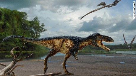 Reconstruction of the new tyrannosaur Timurlengia euotica in its environment 90 million years ago.