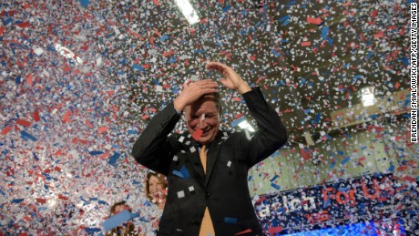 Republican US Presidential hopeful Ohio Governor John Kasich celebrates his Ohio primary victory during voting day rally at Baldwin Wallace University March 15, 2016 in Berea, Ohio.