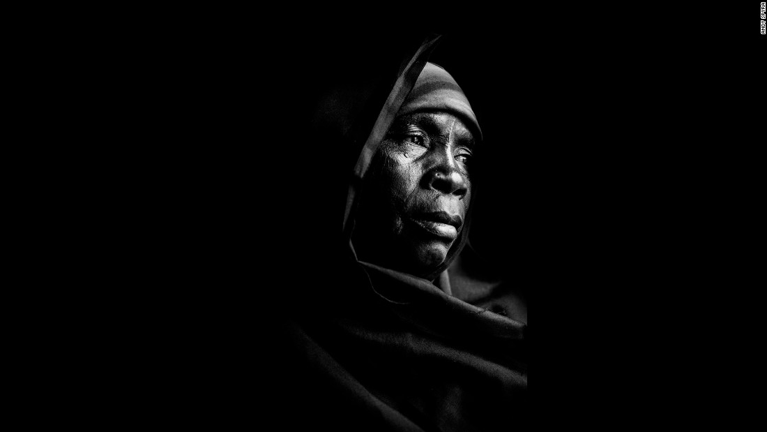 With a piece of black cloth, a few rags and a little chair, Spyra created his makeshift studio at a church compound. Salamatu Ibrahim, pictured here, spent five months in captivity.