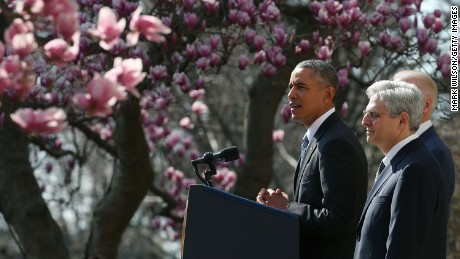 President Barack Obama nominates Judge Merrick B. Garland to the US Supreme Court, in the Rose Garden at the White House on March 16, 2016.