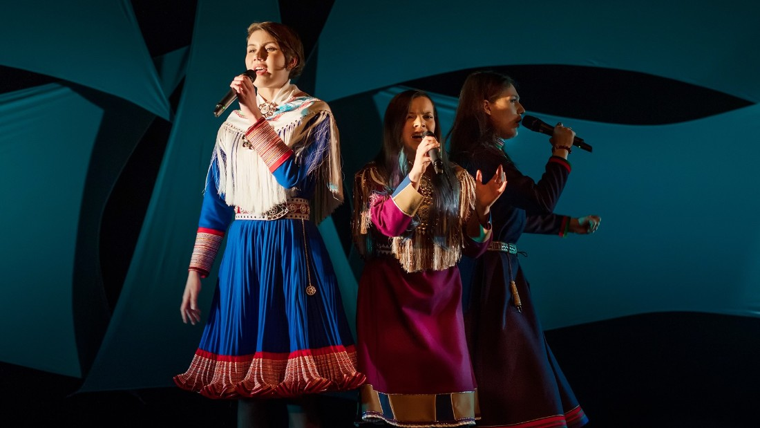 Left-right: Ella Marie Haetta Isaksen, Hilda Lansman and Katarina Barrok perform a traditional Sami yoik song.