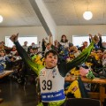 Snowboarders inside the cafeteria at their 2016 Arctic Winter Games venue