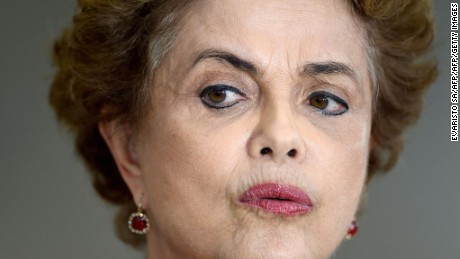 Brazilian President Dilma Rousseff speaks during a press conference at Planalto Palace in Brasilia on March 16, 2016.  Rousseff named her predecessor Luiz Inacio Lula da Silva as her chief of staff Wednesday, sparing him possible arrest for corruption as she seeks to fend off a damaging crisis. AFP PHOTO/EVARISTO SA / AFP / EVARISTO SA        (Photo credit should read EVARISTO SA/AFP/Getty Images)