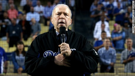 LOS ANGELES, CA - SEPTEMBER 18: Frank Sinatra Jr. sings the national anthem on Frank Sinatra Night before the game between the Pittsburgh Pirates and the Los Angeles Dodgers at Dodger Stadium on September 18, 2015 in Los Angeles, California.  (Photo by Stephen Dunn/Getty Images)
