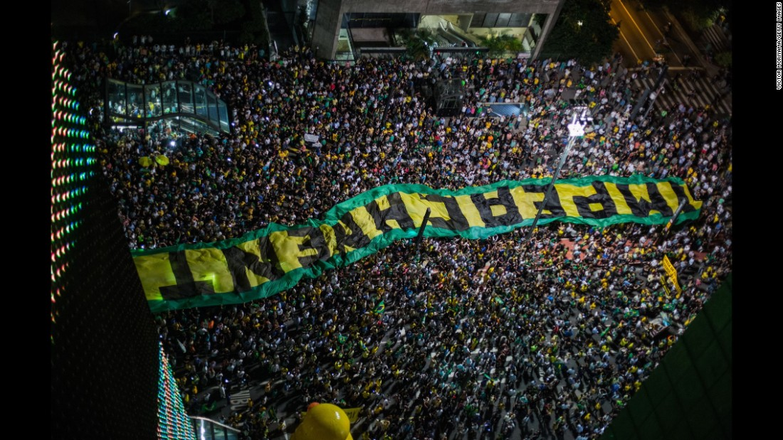 An impeachment sign is carried in Sao Paulo on March 16.
