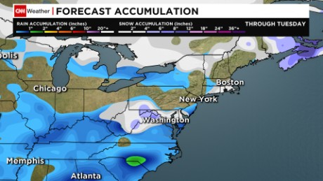 Snow forecast from the American GFS model