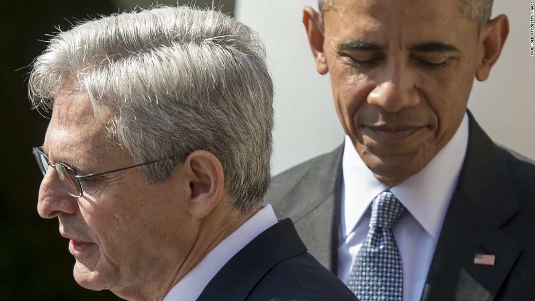 "U.S. President Barack Obama joins <a href=""http://www.cnn.com/2016/03/16/politics/obama-supreme-court-announcement/"" target=""_blank"">his Supreme Court nominee,</a> Merrick Garland, in the Rose Garden of the White House on Wednesday, March 16. Republicans have vowed to block any replacement for Antonin Scalia until a new President takes office. Scalia <a href=""http://www.cnn.com/2016/02/13/politics/supreme-court-justice-antonin-scalia-dies-at-79/index.html"" target=""_blank"">died last month</a> at the age of 79."