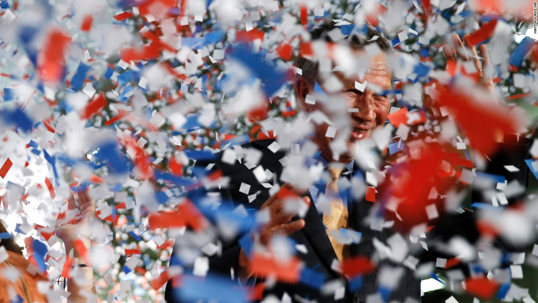 "Confetti falls around Ohio Gov. John Kasich after the presidential candidate <a href=""http://www.cnn.com/2016/03/15/politics/election-2016-ohio-illinois-florida-primaries-highlights/"" target=""_blank"">won his state's primary</a> on Tuesday, March 15. It is the first primary he has won in the race."