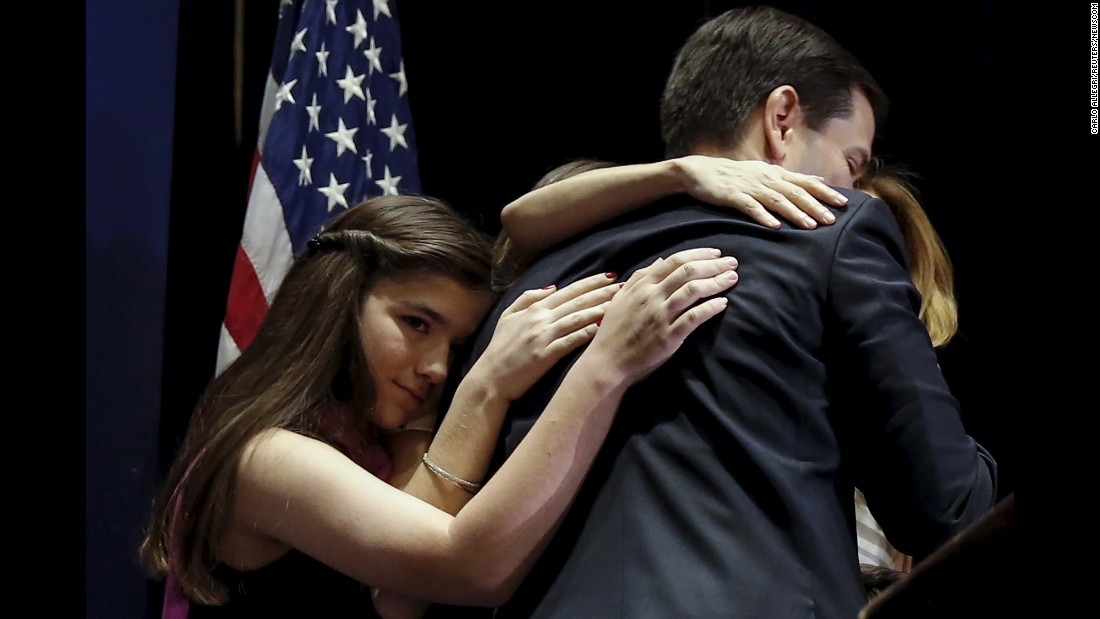 "U.S. Sen. Marco Rubio hugs his family in Miami after he announced Tuesday, March 15, that he would be <a href=""http://www.cnn.com/2016/03/15/politics/marco-rubio-drops-out/index.html"" target=""_blank"">suspending his presidential campaign.</a>"
