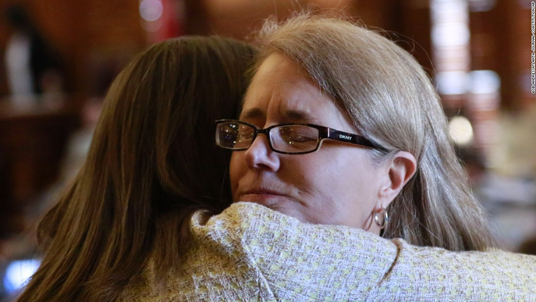 "Georgia Rep. Karla Drenner, right, gets a hug from Rep. Stacey Evans on Wednesday, March 16, after making an emotional speech against a <a href=""http://www.cnn.com/2016/03/17/politics/georgia-religious-freedom-bill-passed/index.html"" target=""_blank"">""religious freedom bill""</a> that would protect opponents of same-sex marriage. Drenner, who is openly gay, says the bill would permit unjust discrimination. The General Assembly went on to pass the legislation, but it's unclear whether Gov. Nathan Deal will sign it."