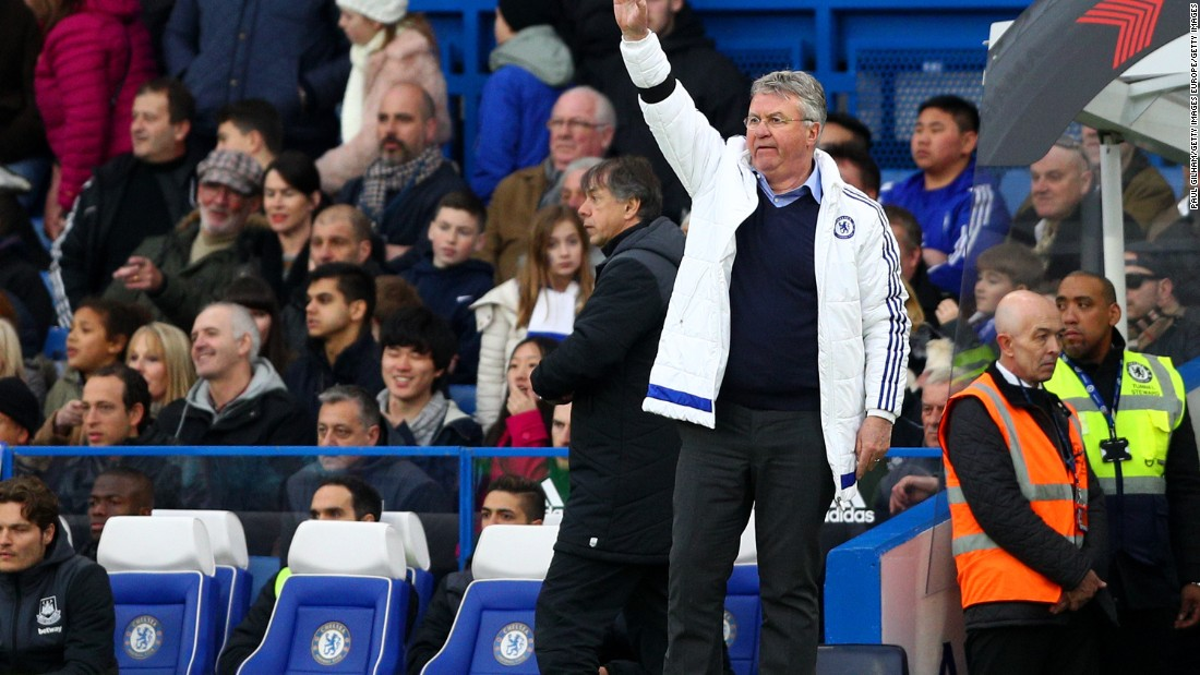 After Saturday's 2-2 draw at home to West Ham, Chelsea's interim manager Guus Hiddink remains unbeaten in the Premiership since taking over this season -- a run of 14 games. Chelsea have not lost a league match since a 2-1 away loss to Leicester City on December 17, Jose Mourinho's last match in charge.