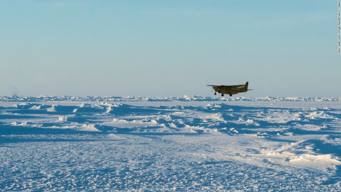 A Cessna Grand Caravan carrying supplies and passengers lands on an ice-runway at Ice Camp Sargo during Ice Exercise (ICEX) 2016 on March 8.
