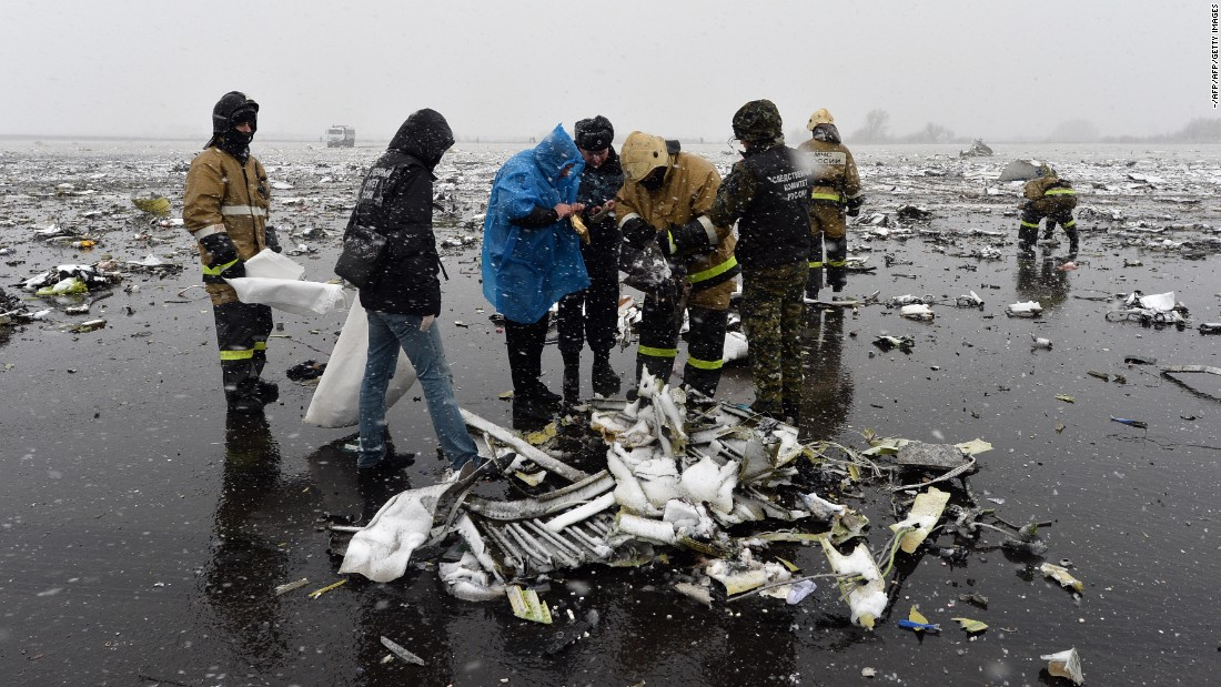 "Russian investigators work at the wreckage of the <a href=""http://edition.cnn.com/2016/03/18/europe/russia-plane-crash/"" target=""_blank"">flydubai passenger jet that crashed on March 19,</a> killing all 62 people on board as it tried to land in bad weather in Rostov-on-Don."