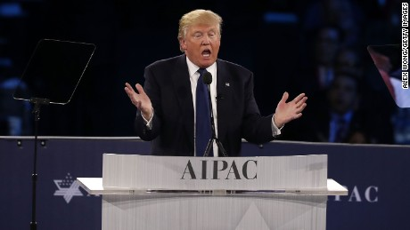 Republican presidential candidate Donald Trump addresses the annual policy conference of the American Israel Public Affairs Committee (AIPAC) March 21, 2016 in Washington, DC.
