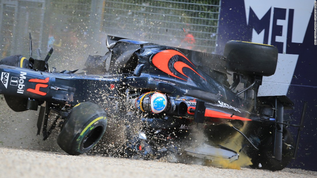 "Fernando Alonso crashes into a wall during the Australian Grand Prix on Sunday, March 20. Alonso was going 200 mph at the time of the crash, <a href=""http://www.cnn.com/2016/03/21/motorsport/fernando-alonso-australian-grand-prix-crash/index.html"" target=""_blank"">but he emerged unscathed.</a> ""I am lucky to be here and thankful to be here. It was a scary moment and a scary crash,"" he said."