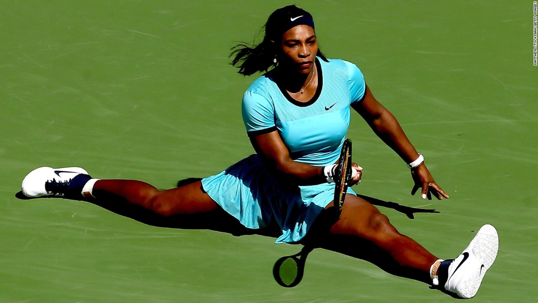 Serena Williams slides for a shot Sunday, March 20, during the final of the BNP Paribas Open in Indian Wells, California. Victoria Azarenka defeated Williams 6-4, 6-4.