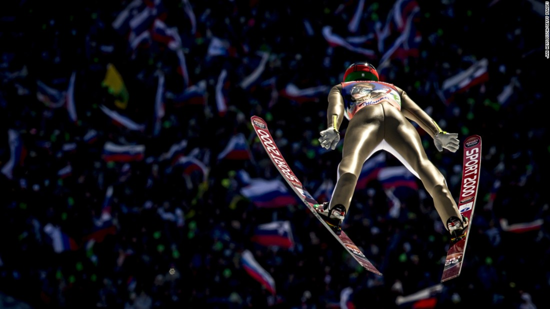 Slovenian ski jumper Anze Semenic competes at the World Cup event in Planica, Slovenia, on Saturday, March 19. The home team finished in second behind Norway.