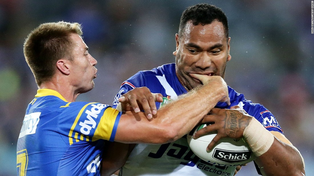 Kieran Foran of the Parramatta Eels, left, tackles Tony Williams of the Canterbury Bulldogs during a National Rugby League match in Sydney on Friday, March 18.