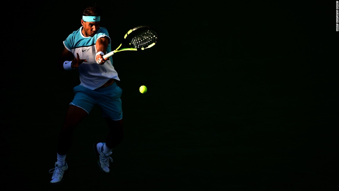 Rafael Nadal hits a forehand in the fourth round of the BNP Paribas Open on Wednesday, March 16.